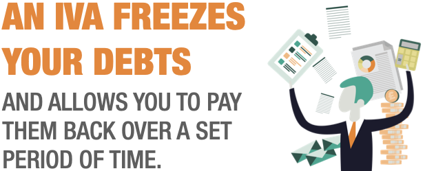 AN IVA FREEZES YOUR DEBTS  AND ALLOWS YOU TO PAY THEM BACK OVER A SET PERIOD OF TIME.